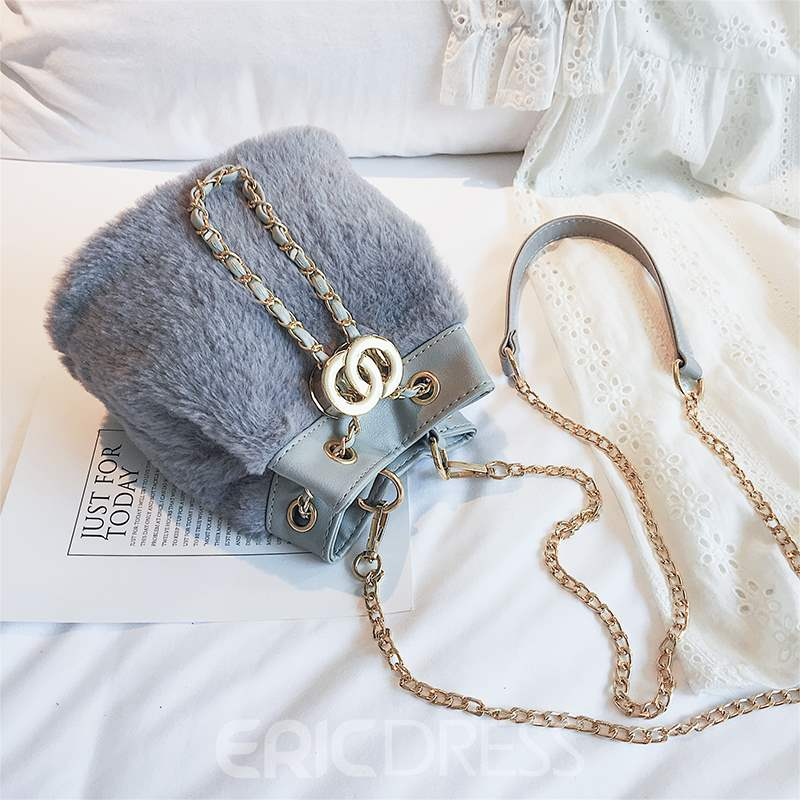 Ericdress Thread Faux Fur Barrel-Shaped Crossbody Bags