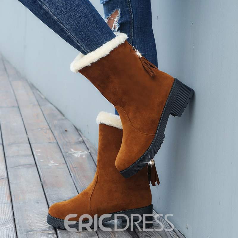 Ericdress Fringe Plain Roud Toe Block Heel Women's Snow Boots