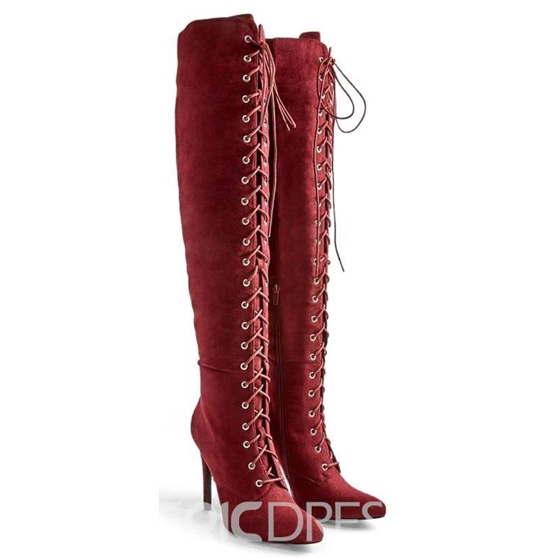 Ericdres Cross Strap Pointed Toe Stiletto Heel Over The Knee Boots