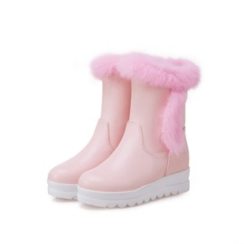 Ericdress Round Toe Wedge Heel Slip-On Women's Snow Boots