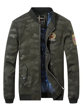 Ericdress Camouflage Zipper Stand Collar Fall England Mens Jackets