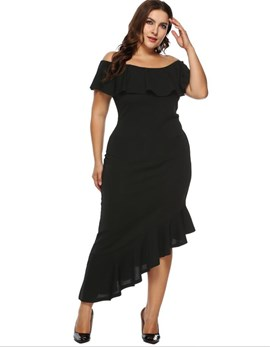 Ericdress Plus Size Asymmetric Short Sleeve Ankle-Length Casual Plain Dress