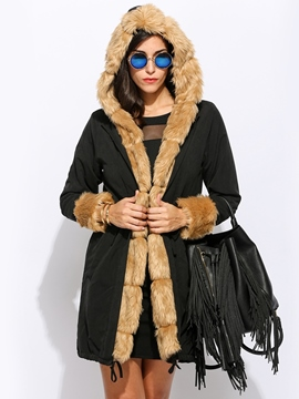 Ericdress Slim Thick Long Hooded Down Coat