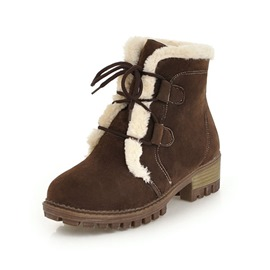 Ericdress Round Toe Lace-Up Front Short Floss Women's Snow Boots