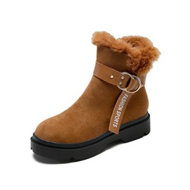 Ericdress Side Zipper Round Toe Buckle Women's Snow Boots