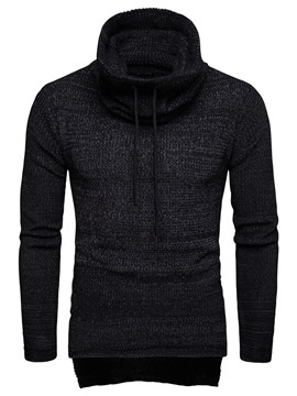 Ericdress Plain Asymmetric Mid-Length High Neck Mens Winter Sweaters