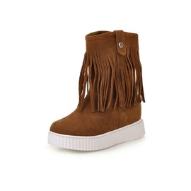 Ericdress Fringe Round Toe Slip-On Women's Boots