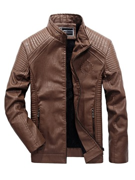 Ericdress Plain Pleated Slim Stand Collar Mens Casual PU Leather Coats