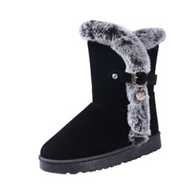 Ericdress Plain Purfle Platform Short Floss Women's Snow Boots