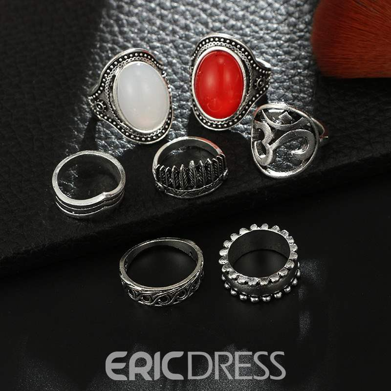 Ericdress Retro Red Agate Lady Ring
