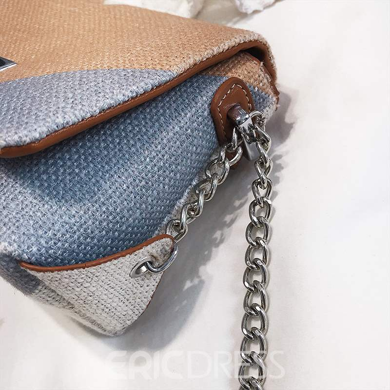 Ericdress PU Chain Knitted Rectangle Crossbody Bags