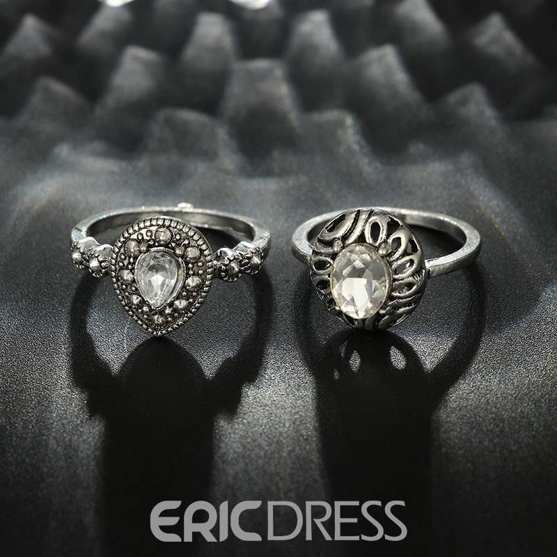 Ericdress Flower Rhinestone Rose Ring