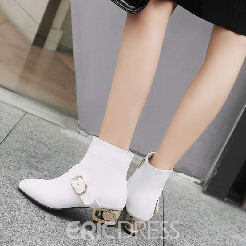 Ericdress Plain Side Zipper Short Floss Women's Ankle Boots