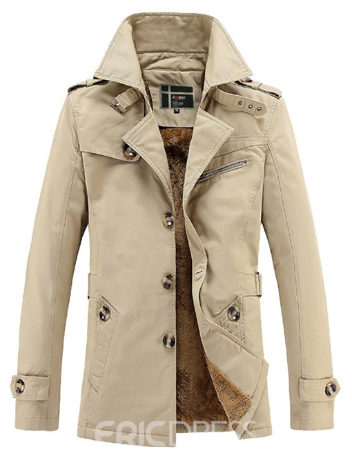 Ericdress Plain Single-Breasted Lapel Mens Casual Trench Coats