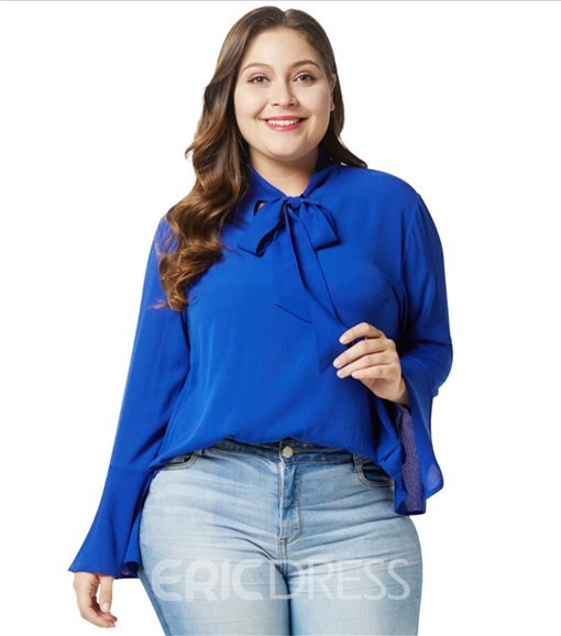 Ericdress Lace-Up Flare Sleeve Mid-Length Blouse