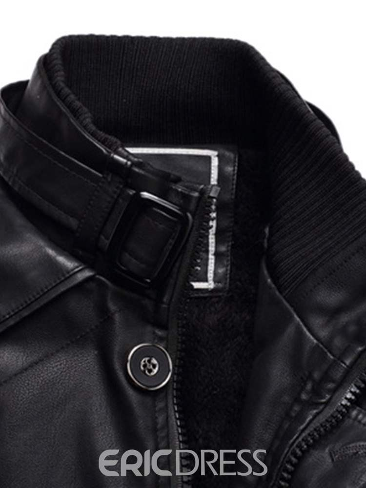 Ericdress Plain Slim Casual Mens Winter PU Leather Coats With Belt