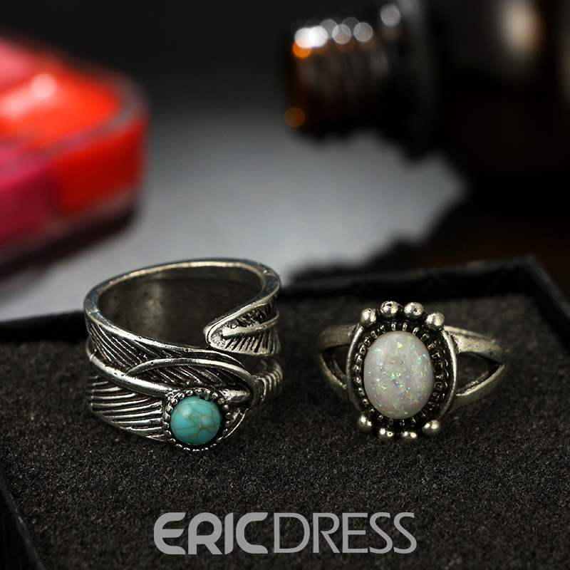 Ericdress Retro Round Agate Lady Ring