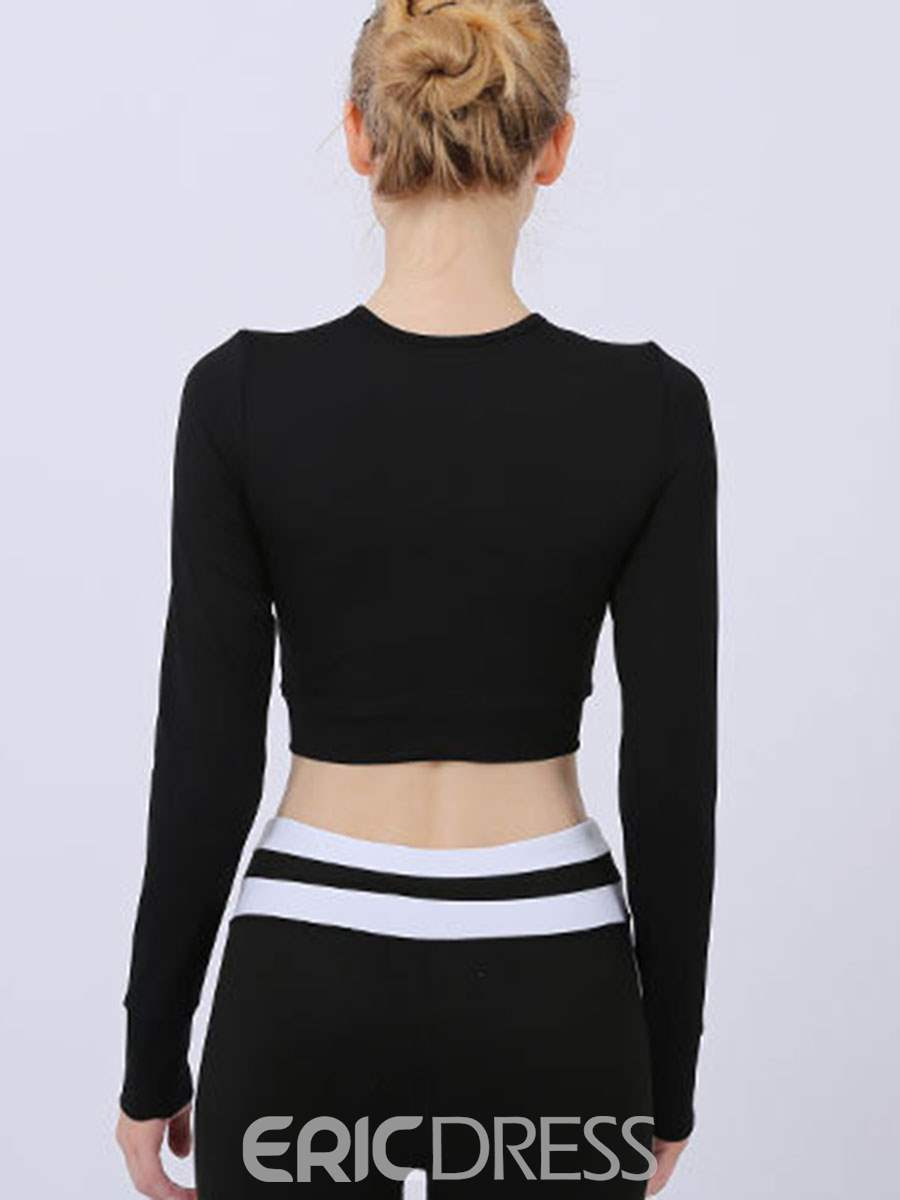 Ericdress Solid Breathable Long Sleeve Sports Tops