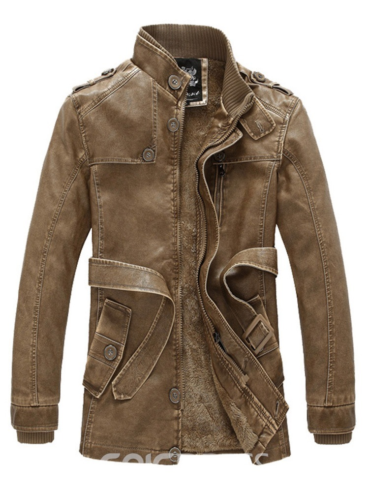 Ericdress Plain Stand Collar Vintage Mens Casual Leather Jacket