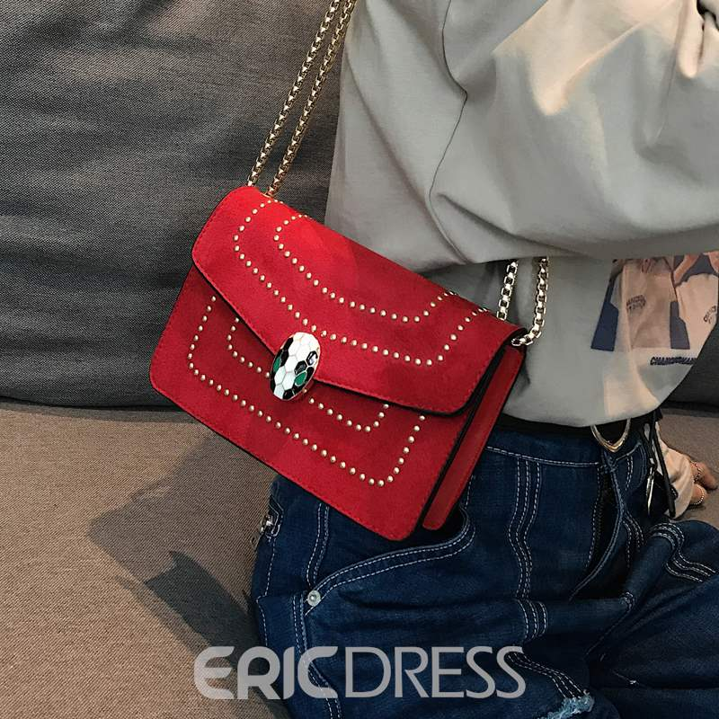 Ericdress Chain Plain PU Envelope Rivet Chain Crossbody Bags