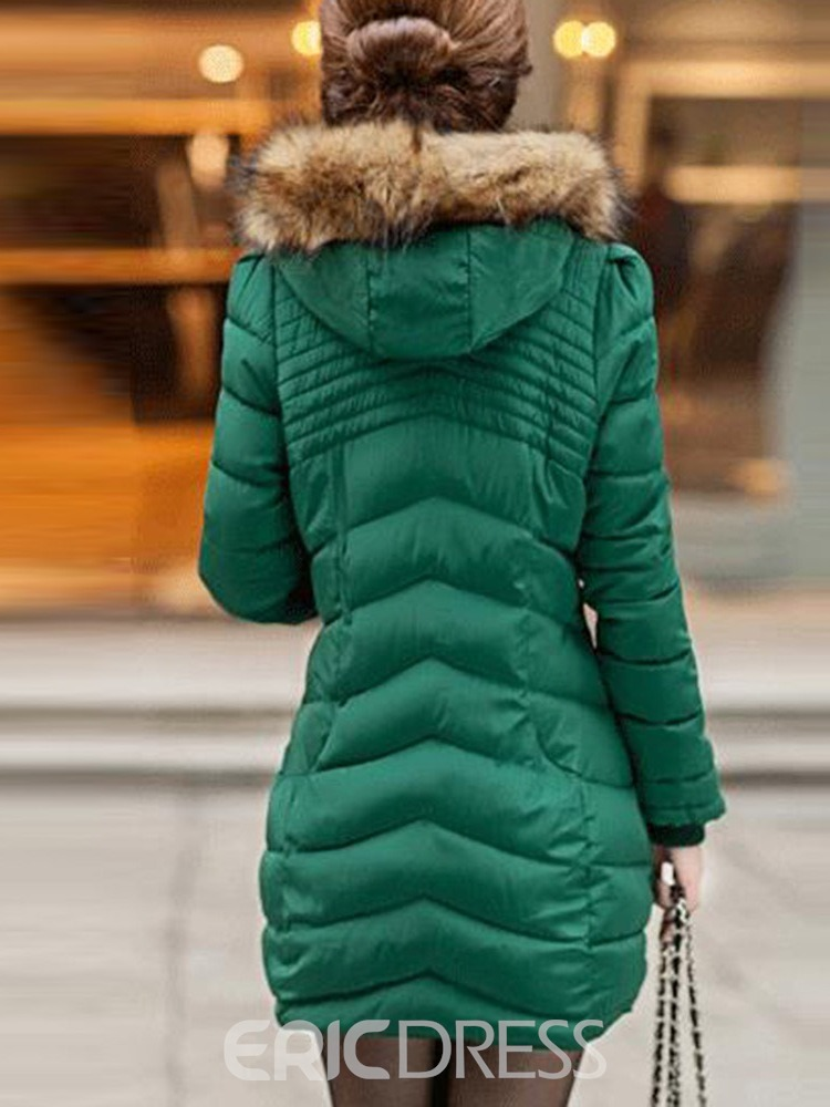 Ericdress Zipper Thick Straight Mid-Length Cotton Padded Jacket