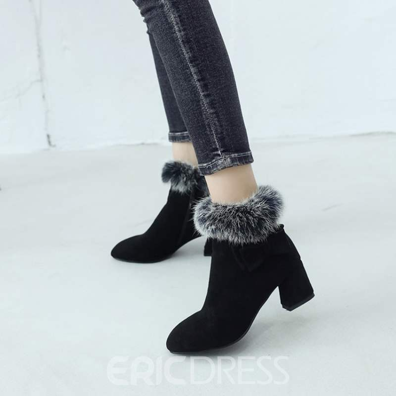 Ericdress Purfle Chunky Heel Side Zipper Women's Boots