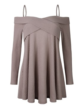Ericdress Off Shoulder Loose Pleated Knitwear