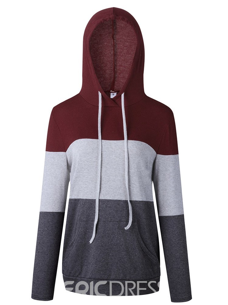 Ericdress Color Block Thick Patchwork Long Sleeves Cool Hoodie