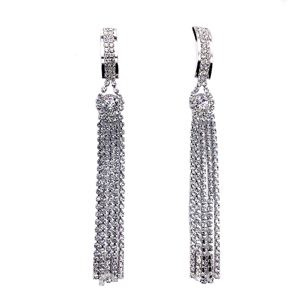Ericdress Shining Diamante Drop Earrings
