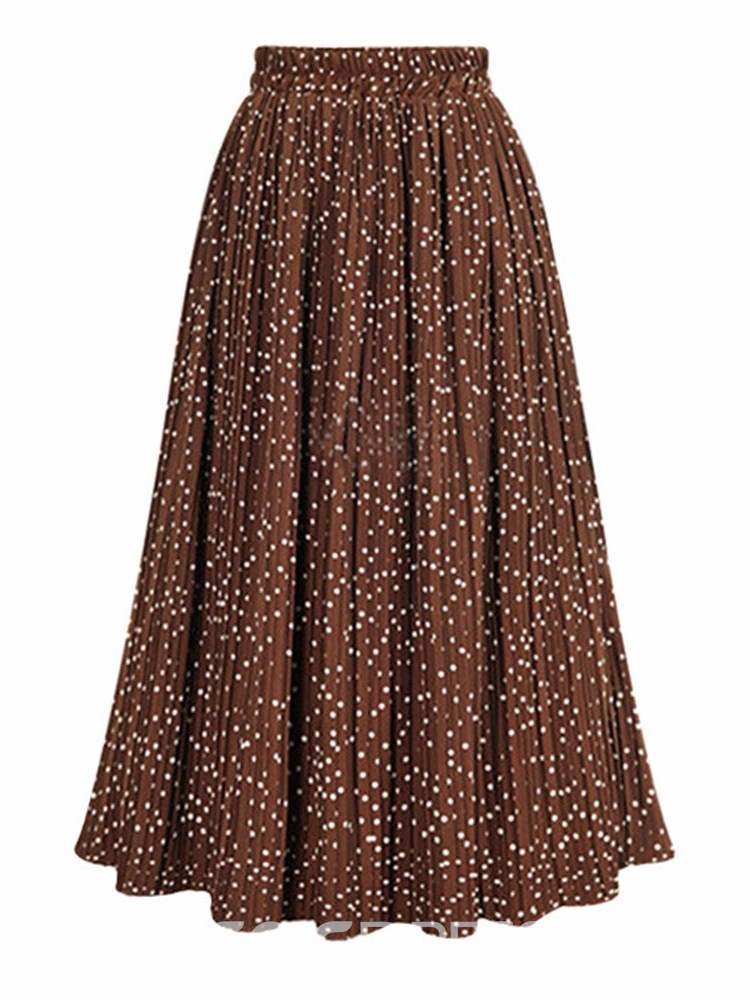 Ericdress Polka Dots Pleated Mid-Calf Women's Skirt