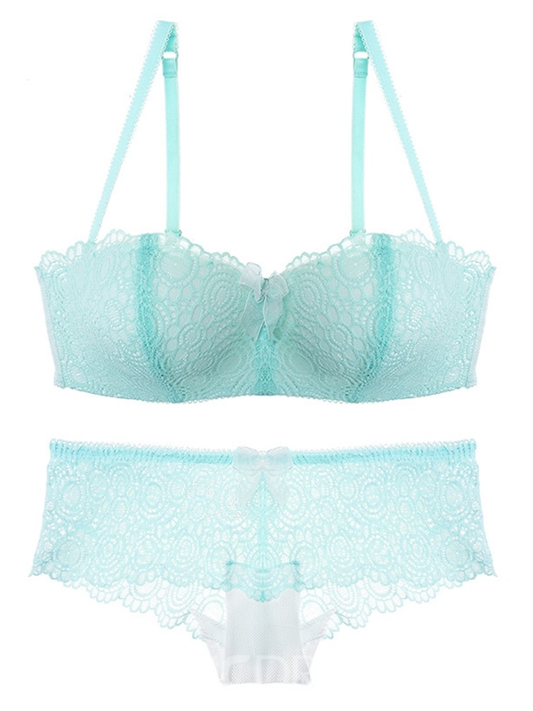 Ericdress Free Wire Adjusted-Straps Half Cup Bra Set