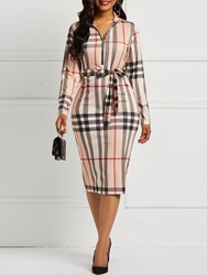 Ericdress Long Sleeves Plaid Bodycon Color Block Dresses - $28.89