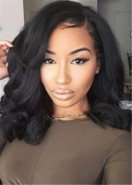 Ericdress Natural Black One Side Part Big Wave Synthetic Hair Capless Cap Wigs 14 Inches