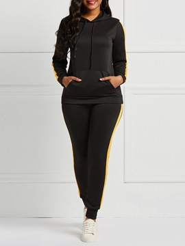 Ericdress Plain Patchwork Pocket Sports Hoodie and Pencil Pants Women's Two Piece Sets