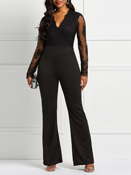 Ericdress Patchwork Plain Pocket Lace Women's Jumpsuits