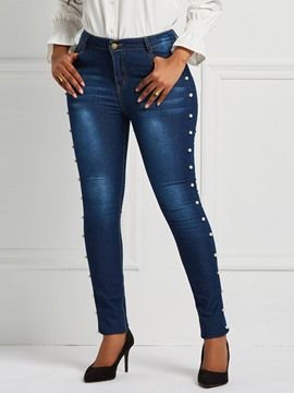 Ericdress Bead Slim Plain Pencil Pants Mid-Waist Women's Jeans