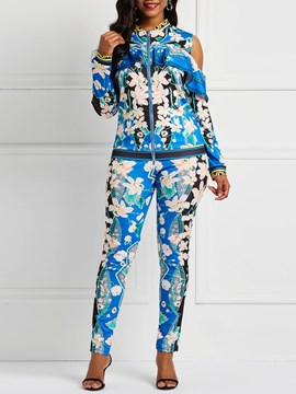 Ericdress Floral Falbala Coat and Pencil Pants Women's Two Piece Set