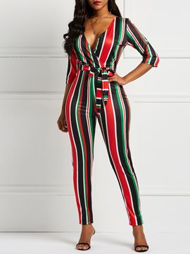 Ericdress Striped Color Block Skinny Jumpsuits