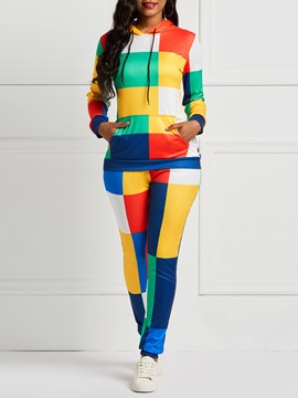 Ericdress Plaid Color Block Patchwork Hoodie and Pants Women's Two Piece Sets
