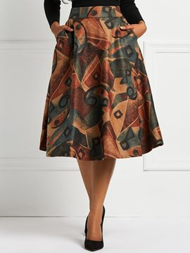 Ericdress A-Line Print Mid-Calf Color Block Skirts