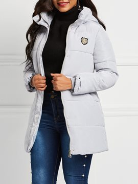 Ericdress Zipper Slim Zipper Mid-Length Down Coat