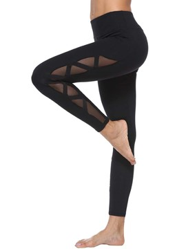 Ericdress Breathable Mesh Patchwork Solid Ping-Pong Yoga Pants High Waist Tiktok Leggings