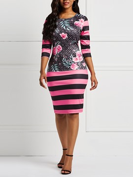 Ericdress Three-Quarter Sleeve Floral Print Bodycon Dress