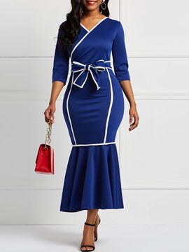 Ericdress Long Sleeves Mermaid Falbala V-Neck Color Block Dresses