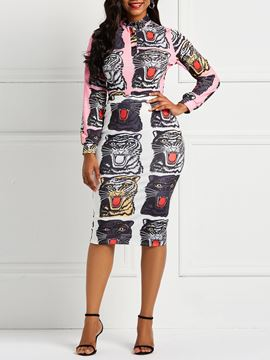 Ericdress Animal Print Bodycon Shirt and Skirt Women's Two Piece Sets