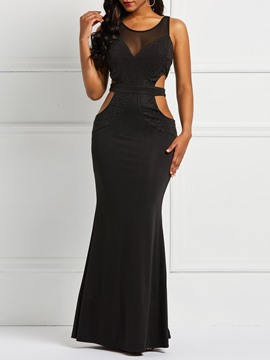 Ericdress Sleeveless Backless Rhinestone Bodycon Plain Dress