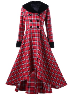 Ericdress Patchwork Slim Double-Breasted Long Overcoat