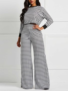Ericdress Houndstooth Loose Top and Wide Legs Pants Women's Two Piece Sets