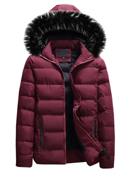 Ericdress Plain Fur Hooded Zipper European Quilted Coats
