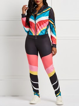 Ericdress Color Block Print Long Sleeves Jacket and Pencil Pants Women's Two Piece Sets